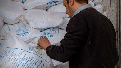 Photo of جانب من حركة دخول الشحنات الإغاثية والكشف عليها من قبل موظفي أمانة الجمارك في معبر باب الهوى