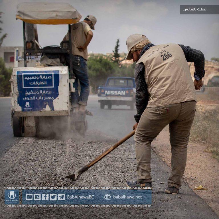 """Photo of معبر باب الهوى يبدأ أعمال صيانة وتعبيد أوتستراد """" إدلب _ باب الهوى """""""