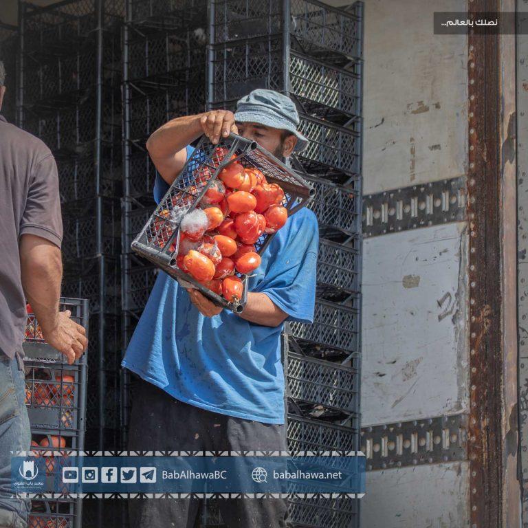 Photo of جانب من عملية إتلاف شحنة بندورة فاسدة دخلت إلى معبر باب الهوى